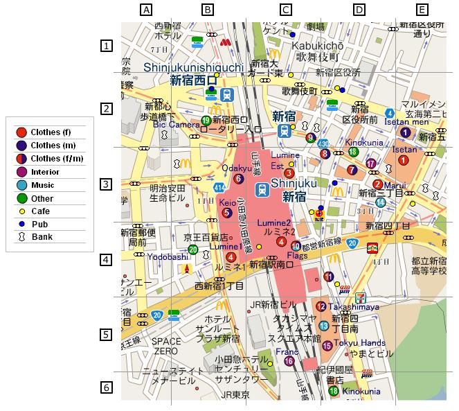 Mishonni Shinjuku Shops Map Communication in English Japanese